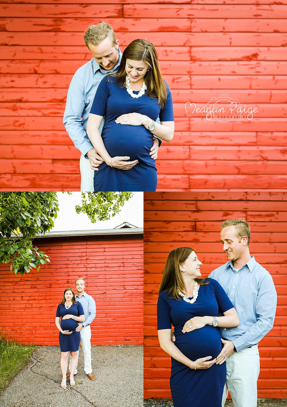 Pregnant Couple in front of Red Barn