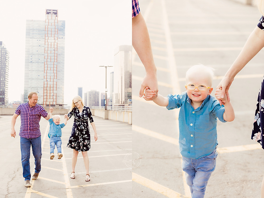 Parking Garage Family Session - Calgary Downtown - Meagan Paige Photography