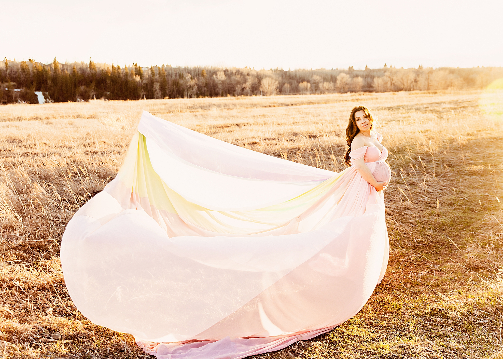 rainbow dress maternity calgary alberta meagan paige