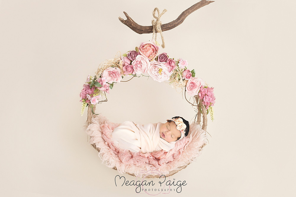 Baby Girl Sarah with Floral Wreath