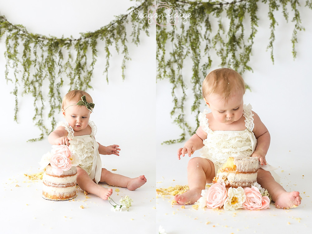 Simply White Floral Cake Smash - Meagan Paige Photography