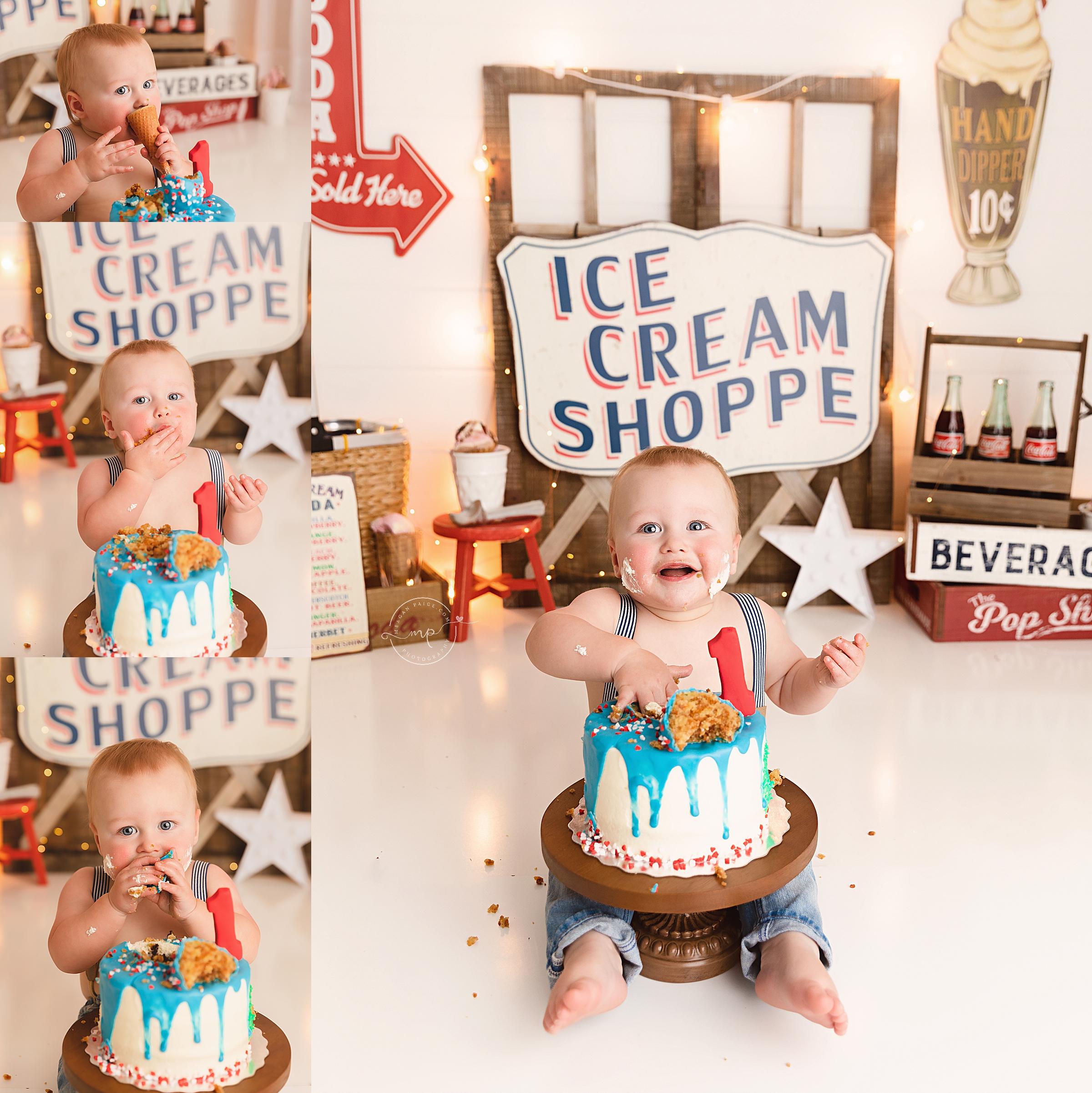 Ice Cream Shoppe Cake Smash - Calgary Child Photographer - Meagan Paige Photography