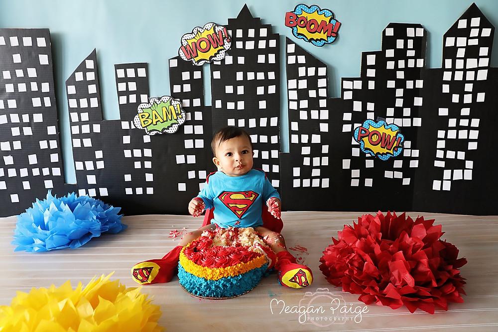 Superman Cake Smash Setup