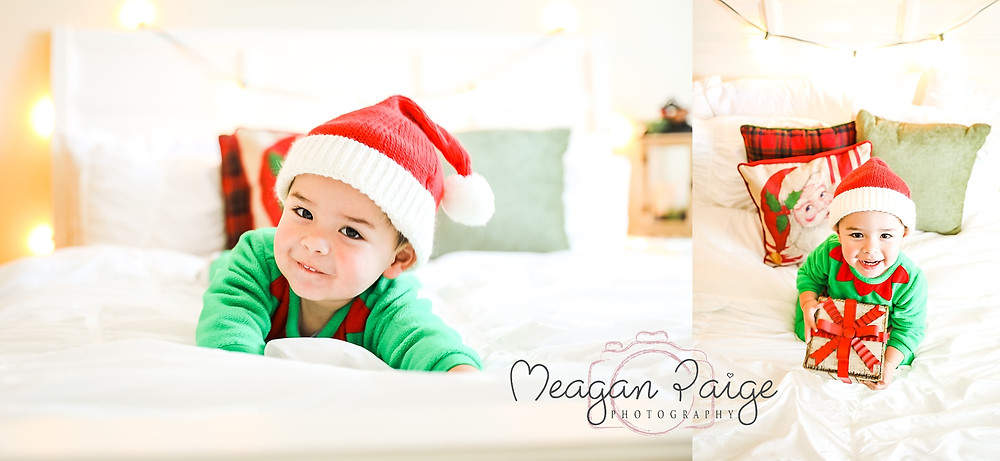 Indoor Christmas Bed Mini Sessions - Calgary Photographer