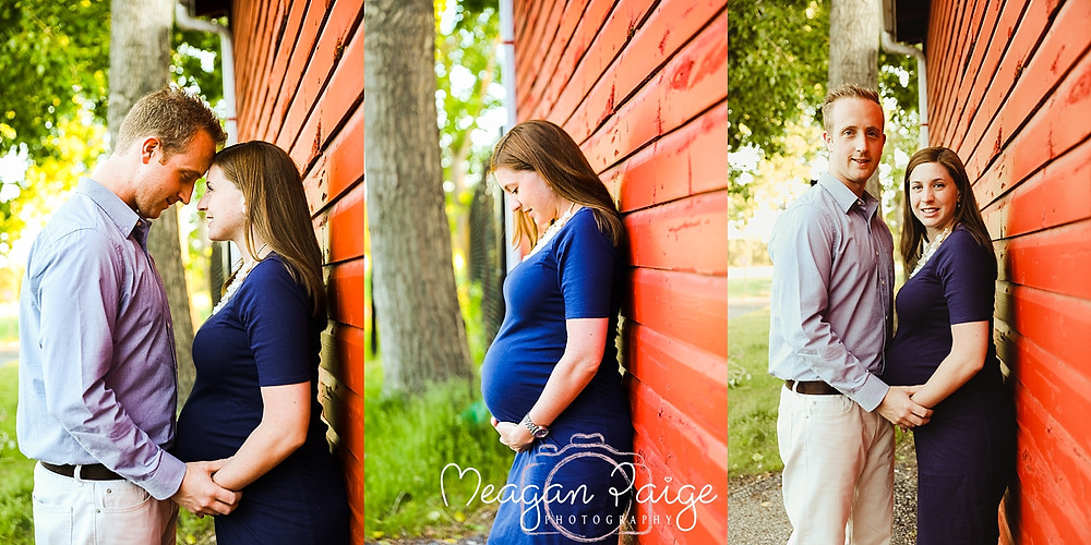 Pregnant Maternity Couple in Front of Red Barn at Fish Creek Park