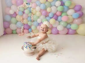 Calgary Child Photographer   Pastel Rainbow Cake Smash