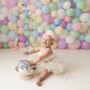 Calgary Child Photographer | Pastel Rainbow Cake Smash