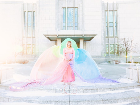Calgary Temple Rainbow Maternity Session - Meagan Paige Photography
