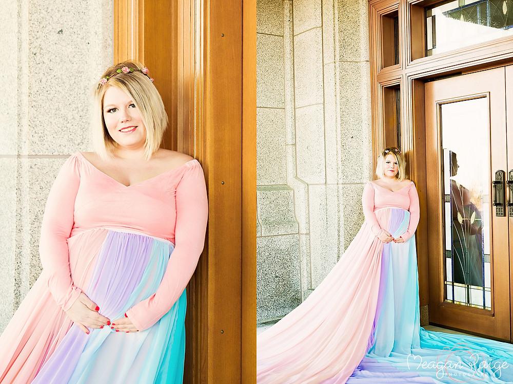 Calgary Rainbow Baby - Maternity Photos - Meagan Paige Photography - Calgary LDS Temple