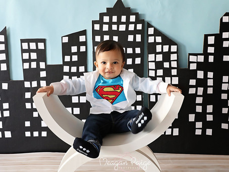 Superman Cake Smash - Calgary Child Photographer