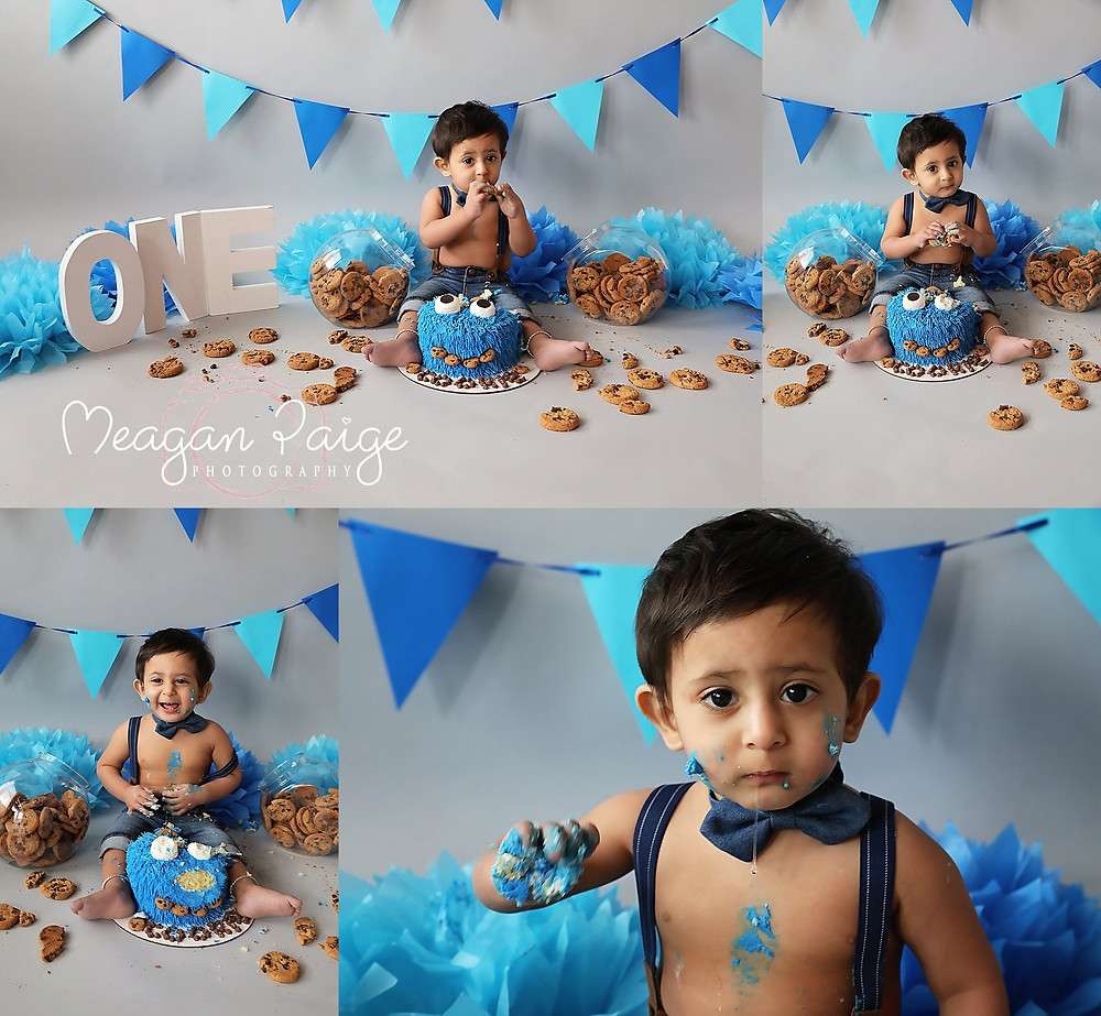 Meagan Paige Photography - Cake Smash - Cookie Monster