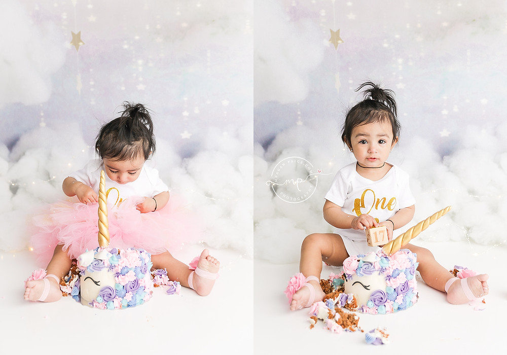 MAGICAL UNICORN CAKE SMASH FOR THE WIN!! - Meagan Paige Photography - Cake Smash Photographer
