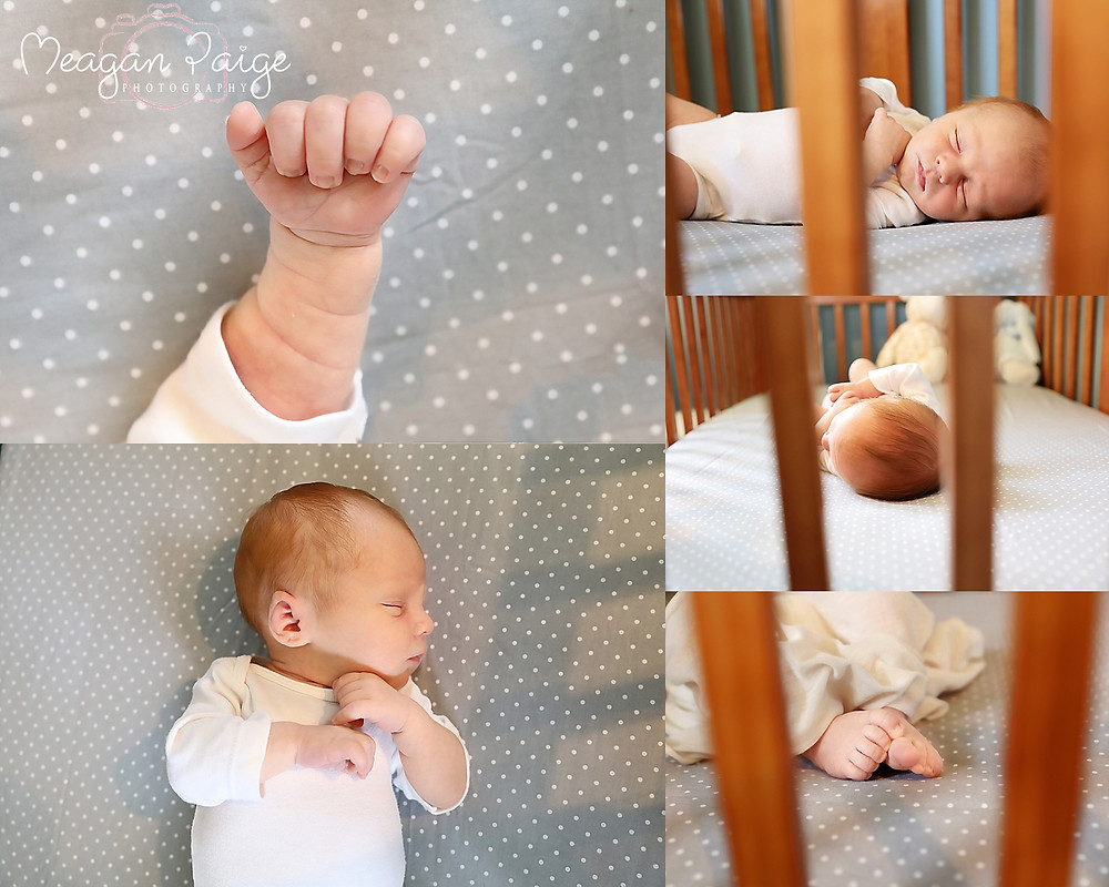 Baby in his crib focused on all his little details