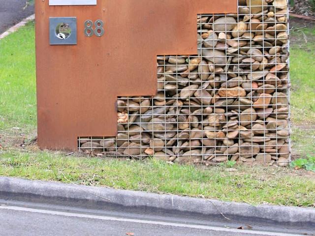 architectural letterbox corten steel gabion