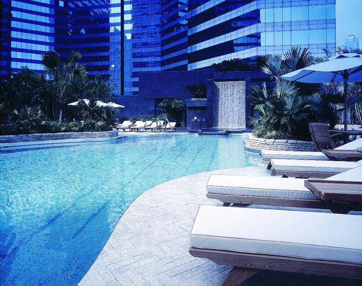 City scape limestone pool