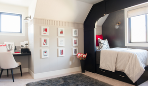 slanted ceiling, black wall treatment, nook cut outs