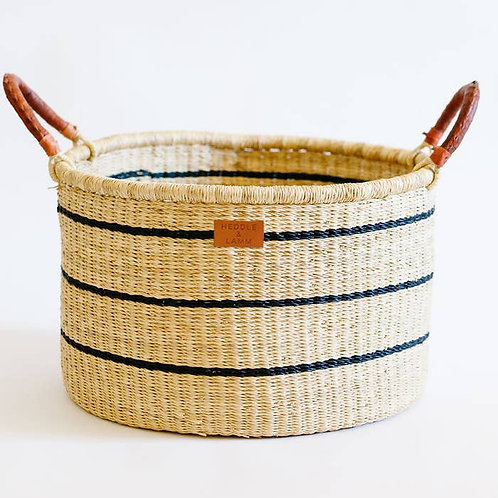 Navy Striped Leather Handle Basket