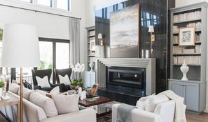 Grey bookcase, marble fireplace veneer