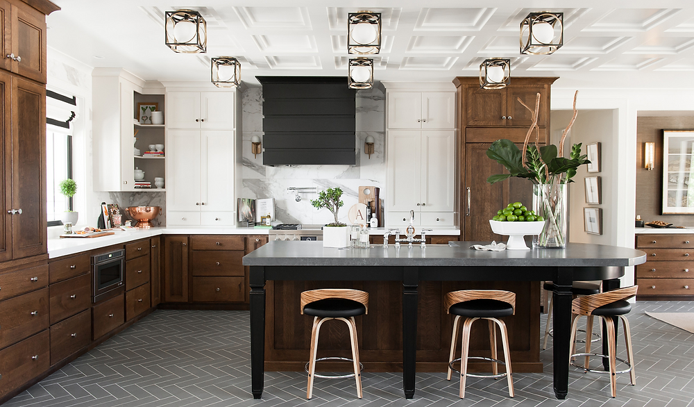 semi flush lighting kitchen, black hood, mixed wood