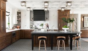 semi flush lighting kitchen, black hood, mixed wood