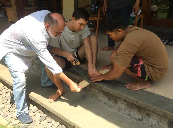 David helping Seb and Hari to hold the w