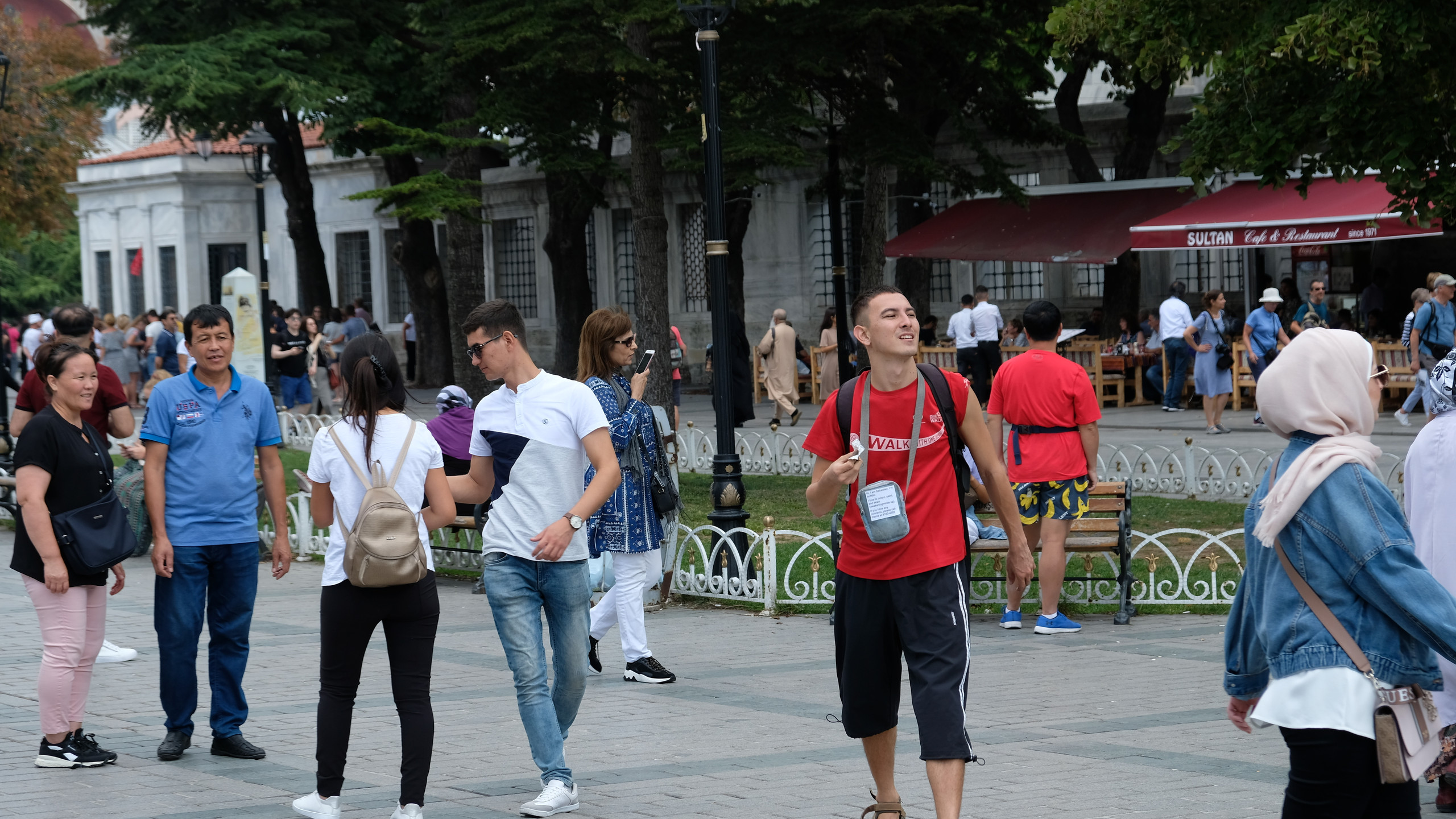 Sebastien amidst tourists