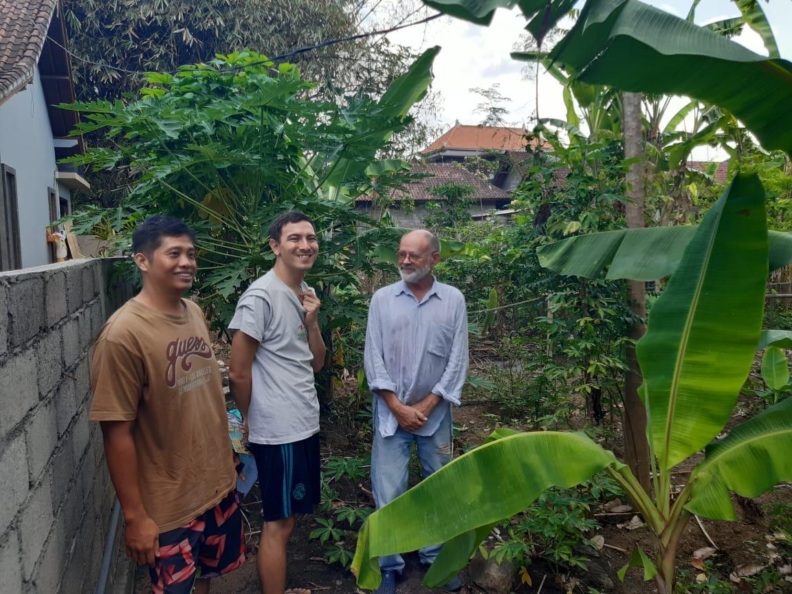 Hari, Seb and David at the farm