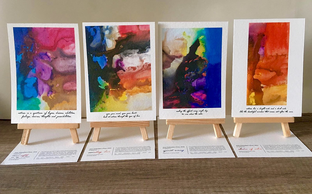 Please read the messages under these cards, digital prints of the paintings of Sebastien, my autistic son