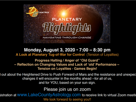 Planetary Highlights for August with Diane Trimbath, NCGR-PAA Level IV: August 3rd, 7 PM