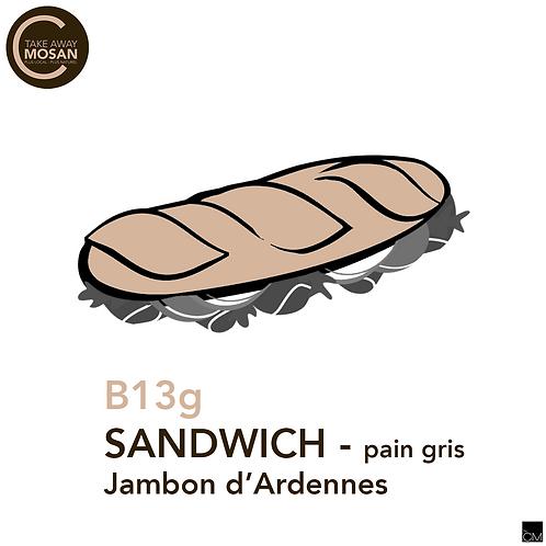 1/2 baguette grise jambon d'Ardennes