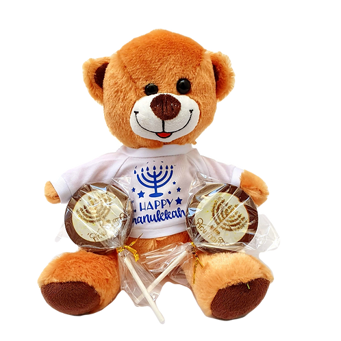 Chanukah Bear + Chocolate Lollipops