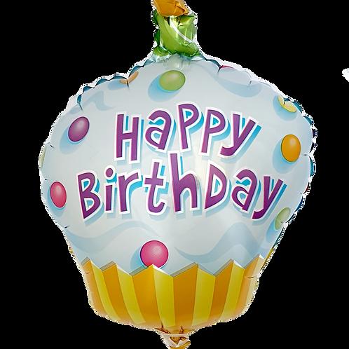"Happy Birthday 9"" Balloon - Cupcake White"