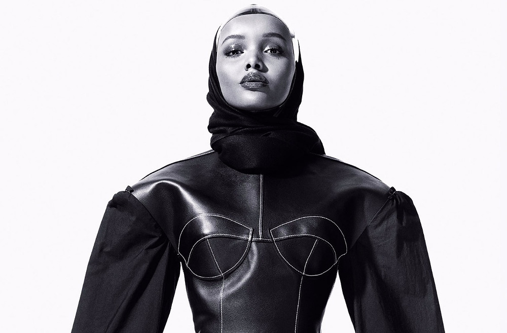 Halima Aden poses for CR Fashion Book editorial