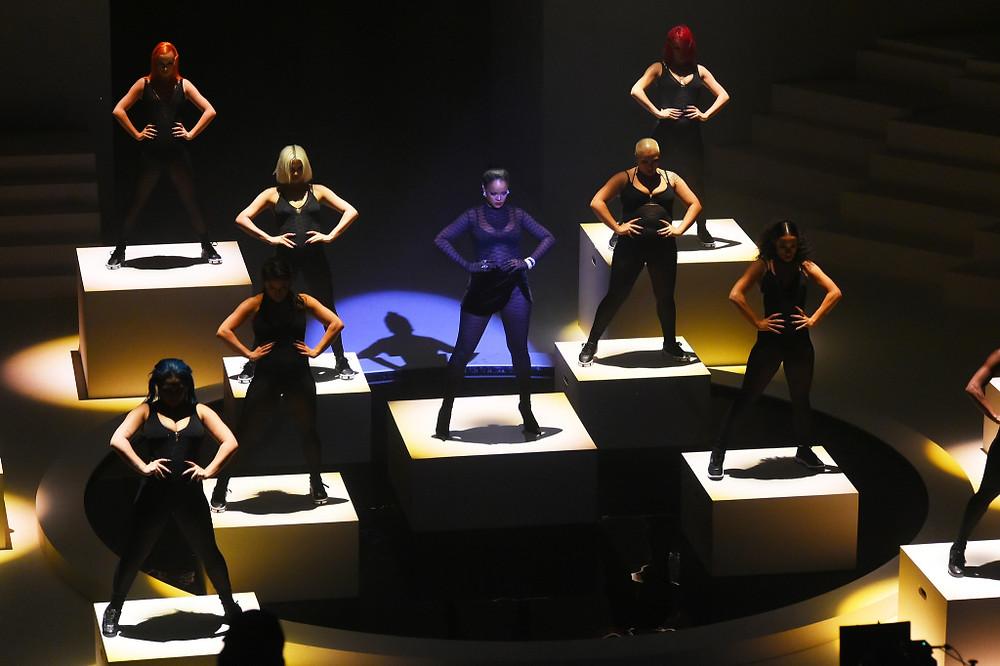 Rihanna performing at Savage x Fenty show
