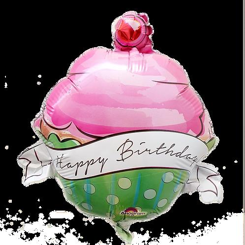 "Happy Birthday 9"" Balloon - Cupcake Pink"