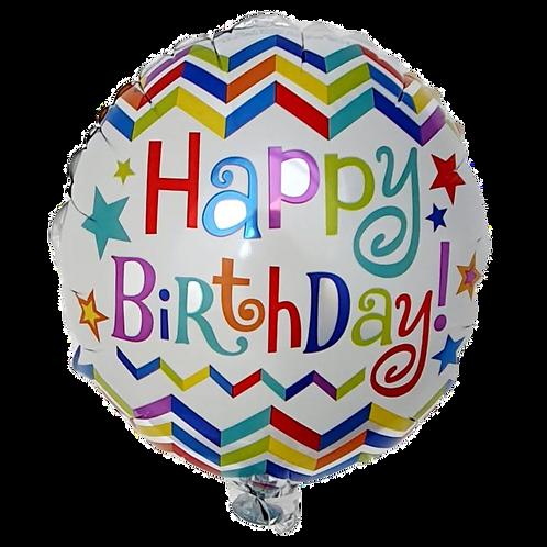 "Happy Birthday 9"" Balloon - Zigzag"