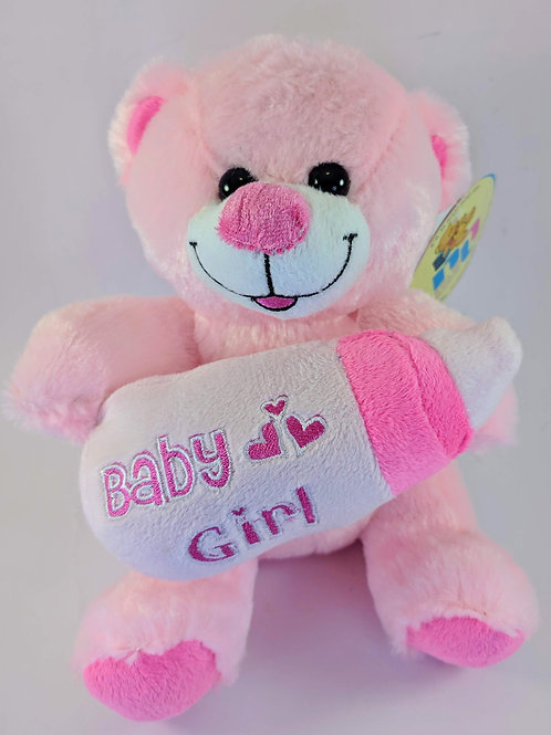 Pink Bear with Bottle - Small