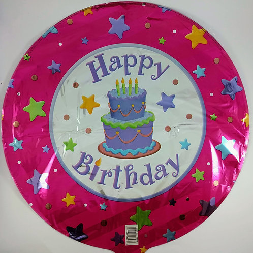 Birthday Balloon - pink with cake