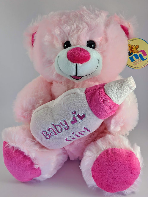 Pink Bear with Bottle - Big