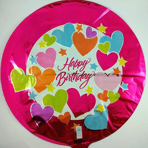 Birthday Balloon -Pink Hearts