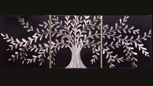 Silver Tree On Black