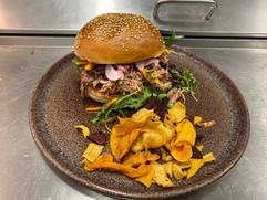 Burger Effiloché Canard cactus restos