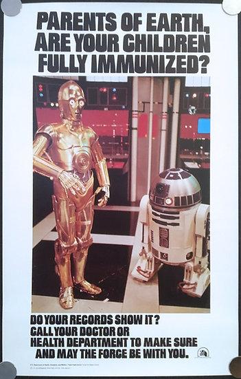 Star Wars 1977 US Health Department Immunization Poster -SOLD