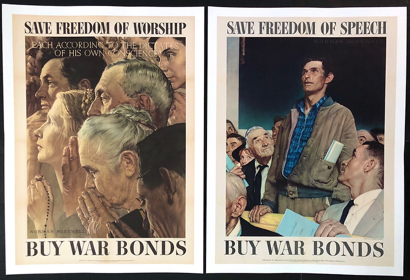 """""""The Four Freedoms"""" 1943 by Norman Rockwell - SOLD"""