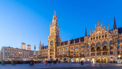 Night panorama of Marienplatz, Munich Ci