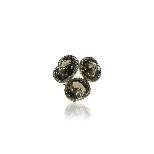 White Gold Ring with Smokey Quartz