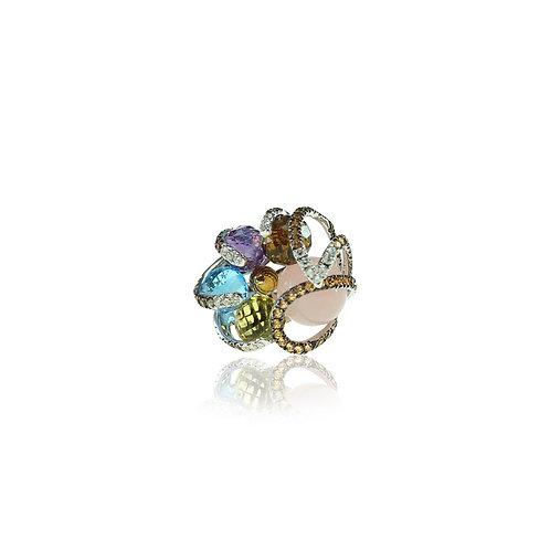 White Gold Ring with Gemspheres & diamonds
