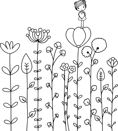 Amelie Coloring Page Flowers