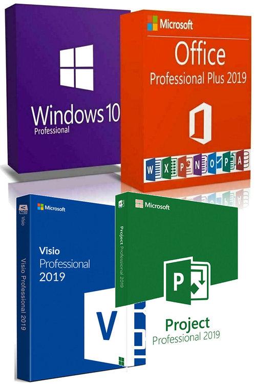 Microsoft Windows 10 Pro, Office 2019, Visio e Project 2019 Professional Plus