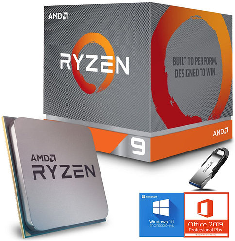 AMD Processore Ryzen 9 AM4 boxed incluso Software OS Windows, Office e Sandisk